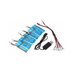 Pack de 5 Baterias para Drone Syma + Cable Cargador Adaptador de 5 salidas
